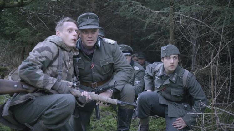 Private Baum (Jason Kennedy), Major Fleischer (Gil Darnel) and Private Nadel (Mark Fountain) anticipate an ambush (©SOTD Ltd)